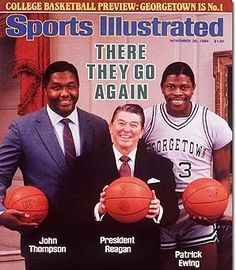 President Regan hangs with some basketball players on the cover of Sports Illustrated