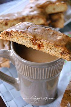caramel coffee and biscotti