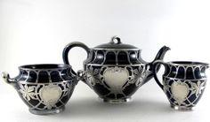 Vintage Lenox Sterling Silver Overlay Cobalt Porcelain Tea Set