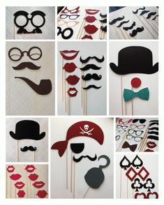 DIY photobooth props (moustach, bowtie, glasses, lips)