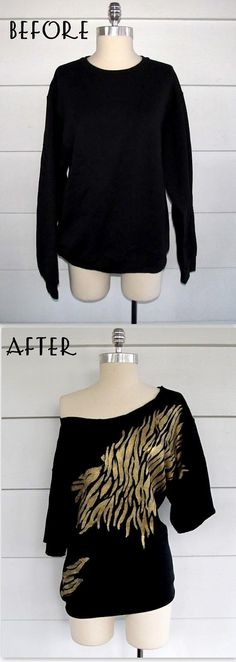 DIY Clothes DIY Refashion DIY Clothes Refashion: DIY Zebra Off the Shoulder Sweatshirt