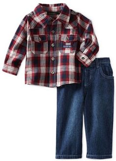 Calvin Klein Baby-boys Infant Flannel Plaid Shirt With Jeans --- http://www.pinterest.com.gp1.me/31m