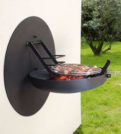 Smart BBQ wall unit for light grilling. #product #design idea, barbecu, space saving, hous, grills, small spaces, bbq grill, garden, design