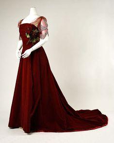 House of Worth, Red Velvet Evening Dress, Paris, 1898-1900.