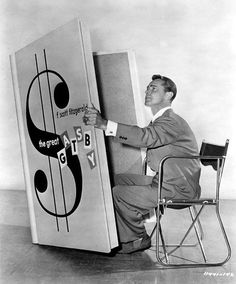 Alan Ladd and a large print edition of The Great Gatsby