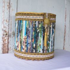 Vintage Wastebasket from Rolled Magazine Recycled Paper.