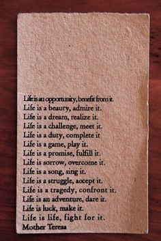 life is life, fight for it.