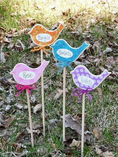 Birdy Flower Markers for Your Garden