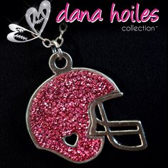 Pink crystal football necklace