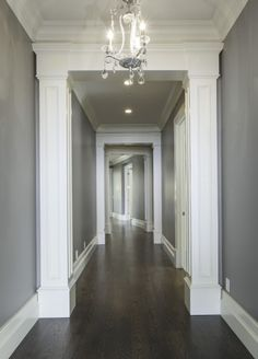Hardwood Floors Dark Gray Walls White Trim
