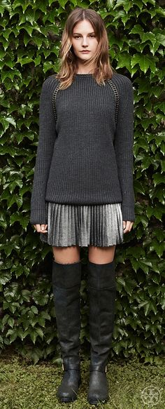 Contrast soft & hard — a woolly sweater and a lamé skirt   Tory Burch Fall 2014