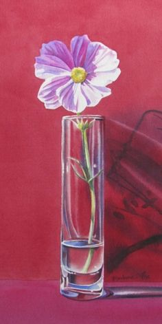 PINK AND RED STILL LIFE watercolor painting, painting by artist Barbara Fox