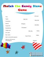 match the candy name game for baby shower in blue color