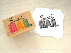 Snail Mail Rubber Stamp Snail Mail Slogan Text by PaperParticles, $9.00