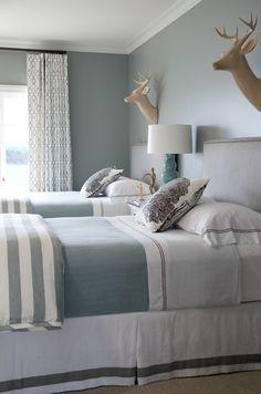 wall colors, turquoise blue, bedroom decor, color schemes, girl bedrooms, deer heads, guest room twin beds, bedroom designs, twin bedrooms