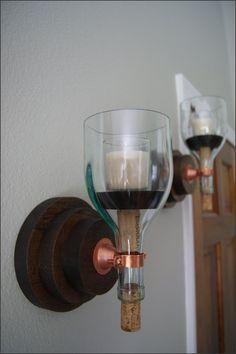 Dark Finish Wood  Candle Wall Sconce Set Wine by WoodsmithOfNaples, $50.00