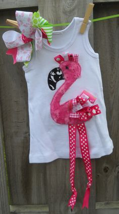 Pink Ribbon Flamingo  Dress, Onesie, Shirt. $35.00, via Etsy.