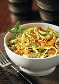 Raw Pesto-Coated Carrot and Parsnip Fettuccine.