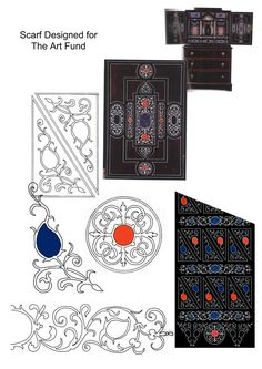 Design board for The Art Fund velvet scarf inspired by a pietra dura piece of furniture