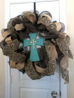 Mesh and burlap cross wreath