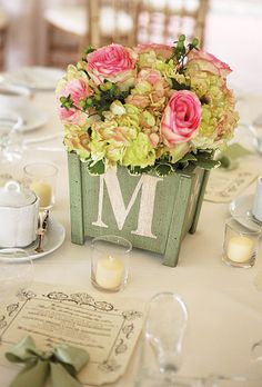 Each table was lettered instead of numbered—all together, the letters spelled out the couple's last name. Millie B Photography. centerpiec, letter, spring weddings, wedding flowers, the bride, wooden boxes, hydrangea, berries, wedding bride