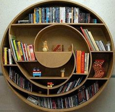 Circle Book Wall Shelving System. 6-8 in. thick