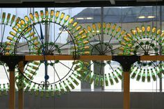 This beer bottle clock is on display at the Philadelphia International Airport.
