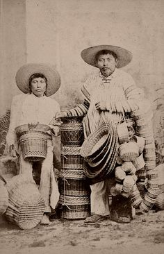 Mexican basketry From a scarce CDV album of mexican occupationals made by the studio Cruces y Campa in the 1860s. (Cesteros) - visit us on line at www.mainlymexican... and on eBay #Mexican #Mexico #antique #vintage #photography #women