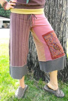 cool patchwork yoga pants.