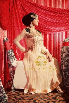 Husn e Afza cream anarkali Indian wedding outfit