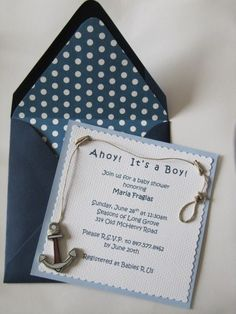 Nautical baby shower invitation for a boy!