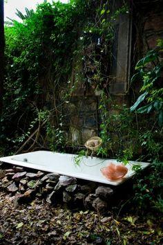 idea, outdoor baths, dream, outside bathtub, outdoor bathtub, gardens, hous, rocks, garden bath