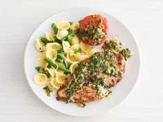 Chicken With Arugula Pesto from #FNMag #myplate #protein #veggies #grains