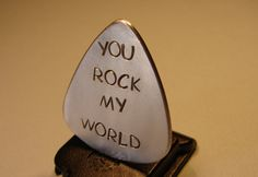 Guitar Pick Handmade from Aluminum with You Rock my by NiciLaskin
