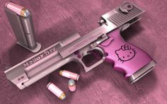 Stylish 50 cal. Desert Eagle pistol in complimentary pinks with matching rounds.