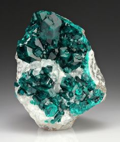 Dioptase with Calcite from Namibia.