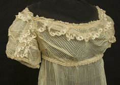 Detail of Regency silk gauze wedding dress, c.1810, from the Vintage Textile archives.