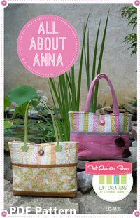 All About Anna Downloadable PDF Tote Bag Pattern Loft Creations - Fat Quarter Shop
