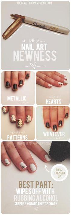 sharpi nail, chevron patterns, nail designs, manicur, nail arts, thought, nail tutorials, gold sharpi, nails