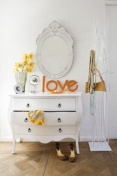 dresser and pops of color