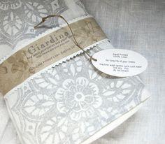 set of four linen hand printed napkins by Giardino