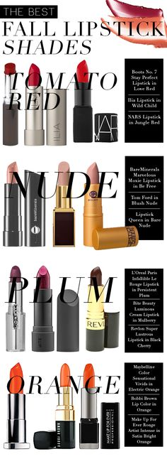 Lipstick Lover: The Best Lipstick Shades for Fall. Beautiful Fall shades.