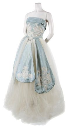 An Irene Blue Silk Taffeta and Off-White Tulle Ball Gown,   1940s