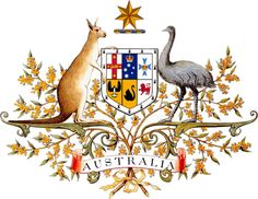 Australian coat of arms - 1912 - current - with a red kangaroo and an emu