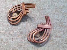 Vintage RENOIR Modernist Copper RHYTHM Swirled Clip Earrings #Renoir