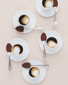 Give guests a surprising touch of mocha in their after-dinner coffee with the help of some clever chocolate-covered spoons chocolate spoons, hot chocolate, food, chocolate covered, coffee, drink, dinner parties, chocolate dipped, dessert
