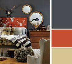 Orange, dark grey, and cream--good masculine color palette, maybe for the bonus room...