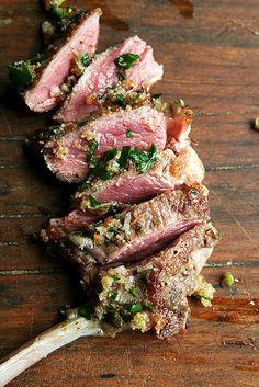 Pan-Seared Lamb Chops with Toasted Bread Crumb Salsa