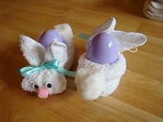 wash cloth easter bunnies..my Aunt Mary use to make these and put those round re freezable ice balls in them and call them boo boo bunnys :) I wish my mom still had mine for coltin