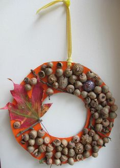An Acorn Craft for Toddlers....also, fun collecting the items... acorn wreath, fall crafts, kids, blog, autumn wreaths, toddlers, acorn crafts, letters, kid craft